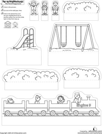 Print, cut, and construct a Pop-Up Park Playground!