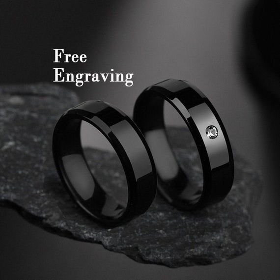Black Promise Rings For Couples Men Promise Rings 1st Anniversary