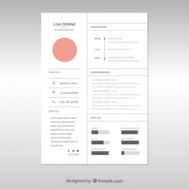 Free vector Minimal cv template with lines #23994