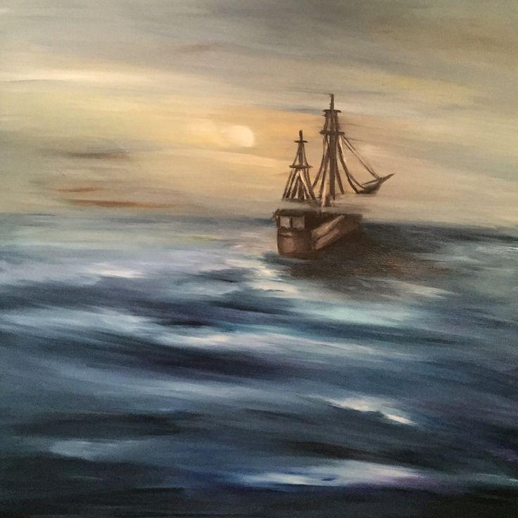 Lorelei, oil on canvas, 90x90cm