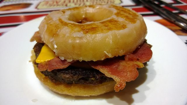 Krispy Kreme Bacon Cheeseburger. So wrong it's right...! To help celebrate Selfridges 10th Birthday, Ed's Easy Diner at Selfridges Birmingham teamed up with Krispy Kreme to present the Ed's Krispy Kreme Bacon Cheeseburger.  The taste bud defying dish is Ed's take on the famous Luther Burger from the States. The story goes, Luther Vandross was having a barbecue and ran out of buns, so used a  box of Krispy Kreme doughnuts and the 'Luther' was born!