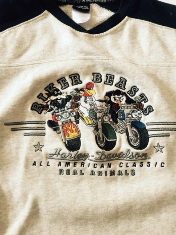Harley Davidson Sweatshirt Biker Beasts Taz Looney Tunes Unisex Small S #HarleyDavidson #SweatshirtCrew