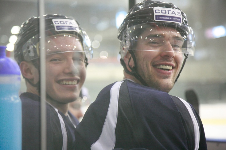 Marko Daňo & Peter Ölvecký during #hcslovan training. Nice teeth boys!