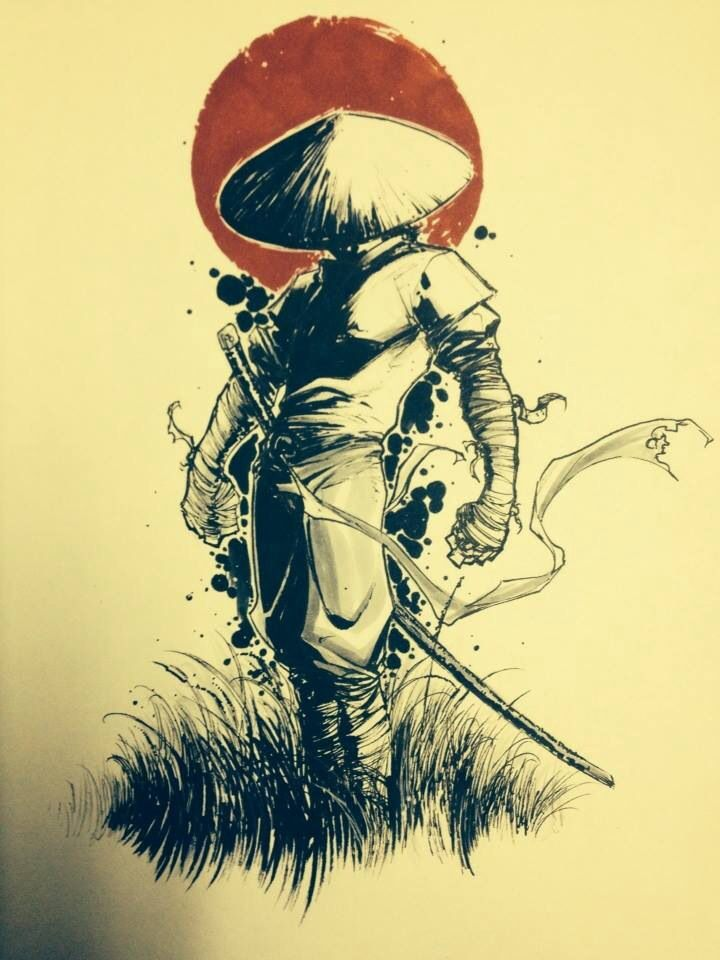 Misc samurai colored sketch I drew up sometime ago.  8x10 paper, micron, prisma pens and Coptic markers.