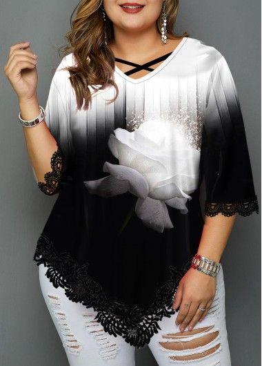 Plus Size Lace Patchwork Asymmetric Hem T Shirt | modlily.com – USD $29.96