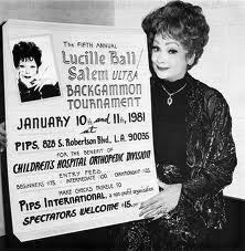 Lucille Ball with backgammon tournament poster 1981                        Play backgammon ► on.fb.me/1869cF3