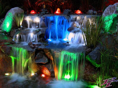 I Would Love An Outdoor Water Feature With Rainbow Lights So Elegant And Pretty I Wish For A