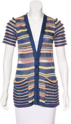 M Missoni Striped Short Sleeve Cardigan