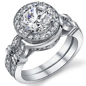 Bella Luce Jewelry Round Moissanite Antique Halo Wedding Ring Set Wed100