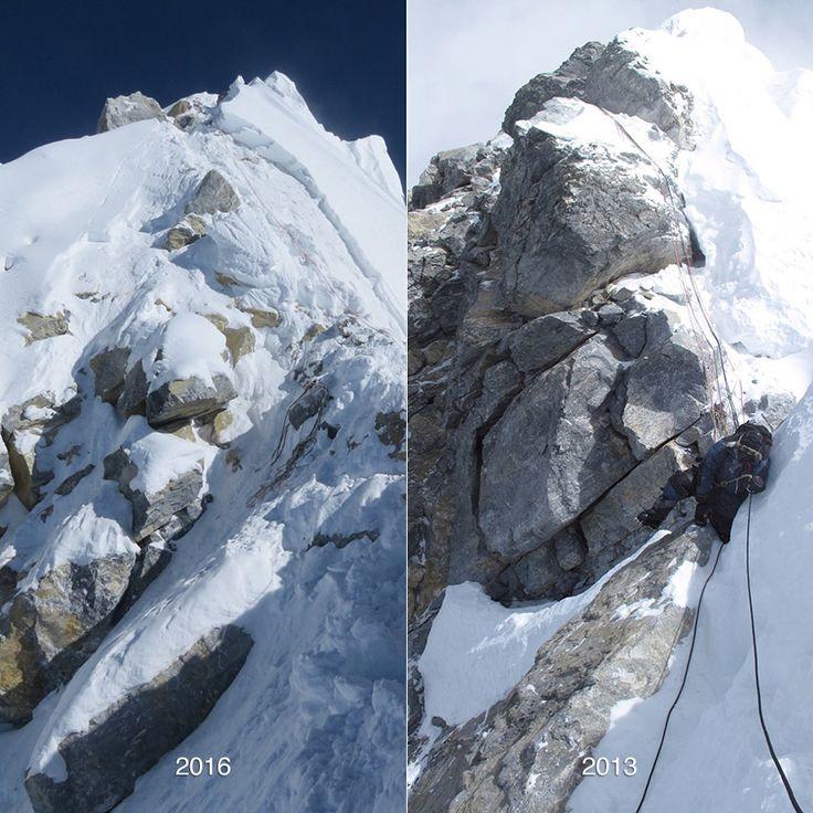 HILLARY STEP: As imagens mostram a mudança causada pelo terremoto de 2015, três grandes rochas desceram montanha abaixo. Alguns alpinistas já já estão chamando o Hillary Step de Hillary Slope (ladeira, declive, encosta). Clique e amplie. Foto: David Liaño - See more at: http://www.extremos.com.br/online/2016/everest/#sthash.ew94hGbI.dpuf