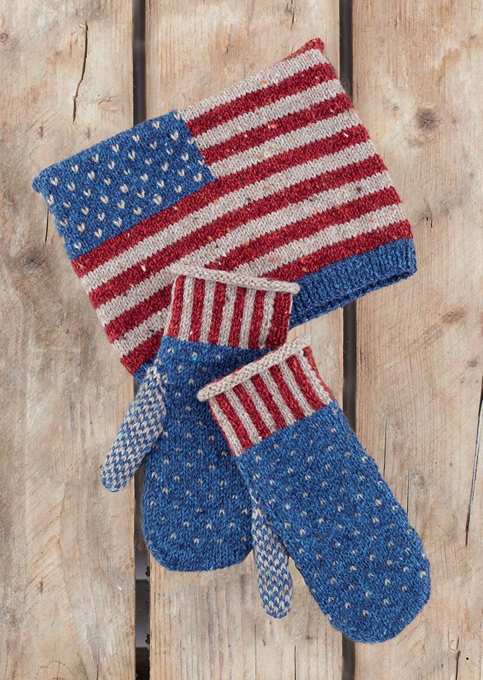 Free Knitting Pattern for USA Hat and Mittens - Stars and stripes mittens and square hat from Sirdar. DK weight yarn.