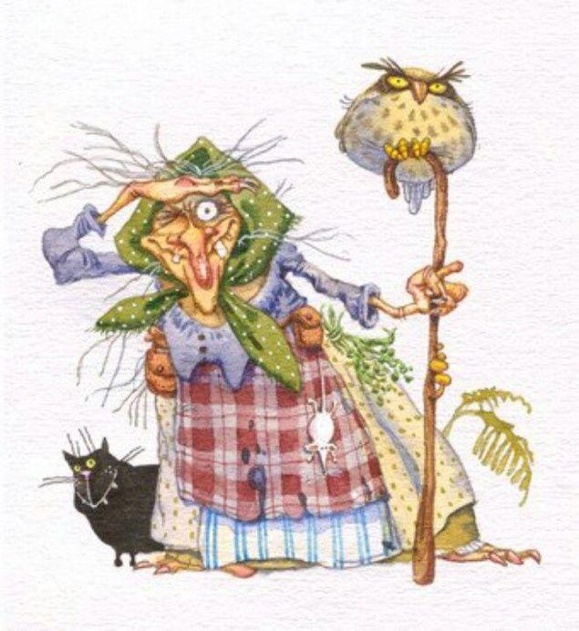 Прикольный рисунок бабы яги, немецкому открытка рождество