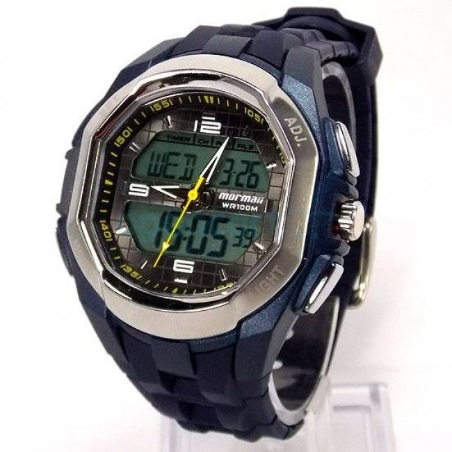 AD125A/8A Relógio Mormaii Digital, Masculino, Pulseira de Borracha Azul.