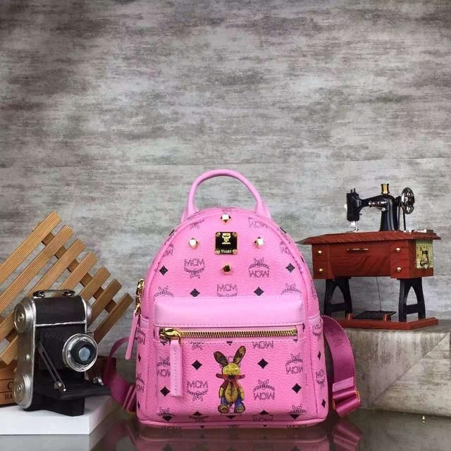 MCM Mini Rabbit Stark Oden Studded Backpack In Pink