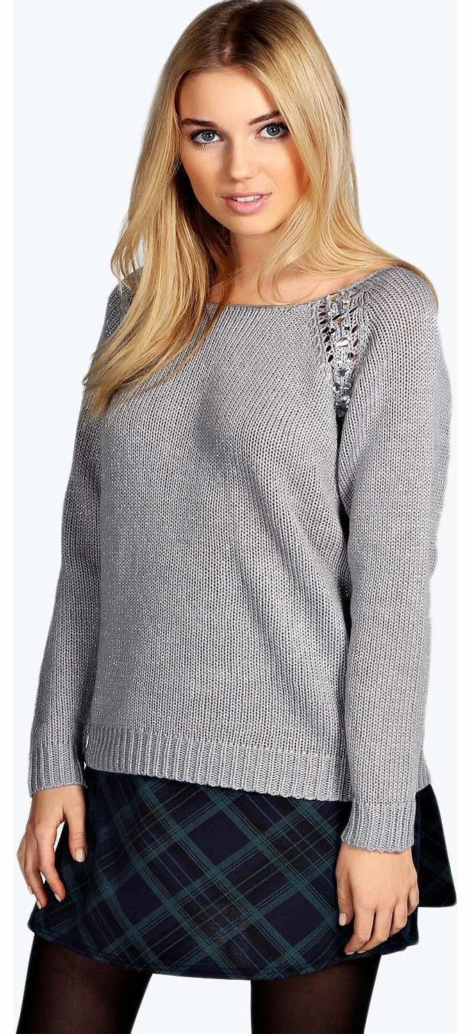 boohoo Liza Embellished Metallic Jumper - silver azz14061 Go back to nature with your knits this season and add animal motifs to your must-haves. When youre not wrapping up in woodland warmers, nod to chunky Nordic knits and polo neck jumpers in peppered mar http://www.comparestoreprices.co.uk/womens-clothes/boohoo-liza-embellished-metallic-jumper--silver-azz14061.asp
