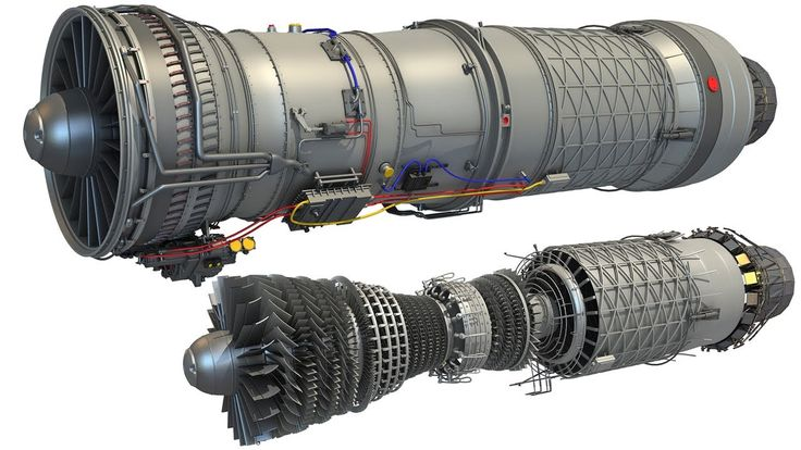 Military Supersonic Turbofan Engine 3D Model - YouTube