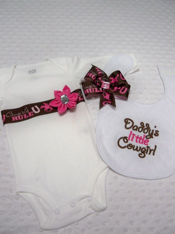 Cowgirl Onesie Bib & Hairbow Set - Baby Girl Pink Cowgirl - Daddy's Little Cowgirl Baby Bib, Onesie, and Brown and Pink Cowgirl Bow on Etsy, $21.50