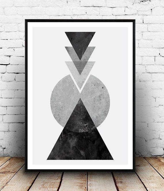 Noir et blanc art, abstrait imprimé aquarelle, géométrique, décor tirnagles, sticker scandinave, publicité imprimée, monochrome, minimalis imprimer