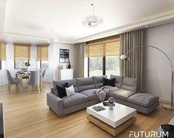 Projekt wnętrza, Łomża - Duży salon z tarasem / balkonem, styl nowoczesny - zdjęcie od FUTURUM ARCHITECTURE