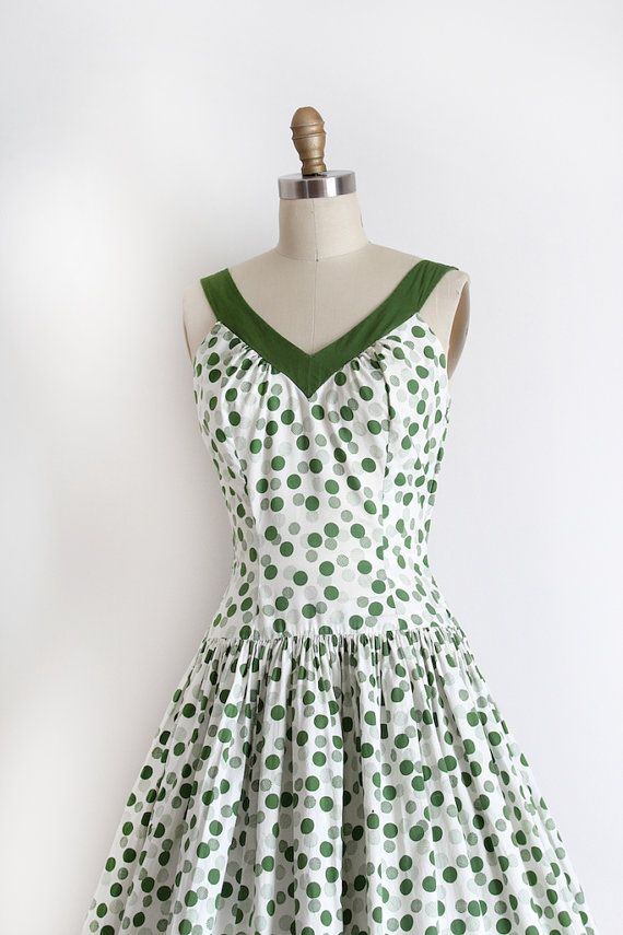 vintage 1950s dress // 50s green cotton polka by TrunkofDresses