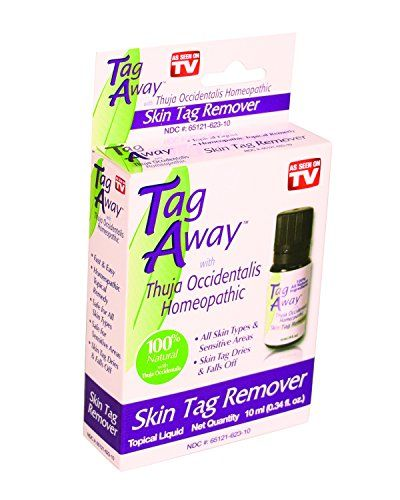 Tag Away with Thuja Occidentals Homeopathic, 1.9 Ounce:   Tag Away Skin Tag Remover is a homeopathic, topical remedymade from all natural plant extracts that help eliminate those harmless skin overgrowths without any pain. Tag away skin tag removerremoves skin tags the all natural waywith its special formula that contains natural plant extracts and the active ingredient Thuja Occidentalis a pure essentialoil recognized for its tag removing properties.