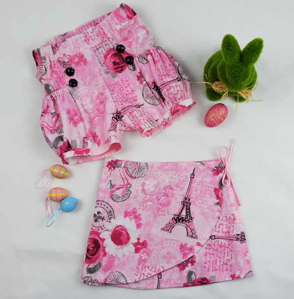 Pretty pink Paris printed girls skirts and shorts. 100% cotton, handmade