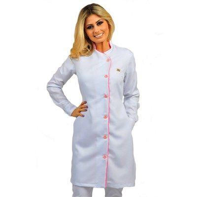 Jaleco Feminino Royal White Faixa Pink - Dra. Cherie | Dental Cremer