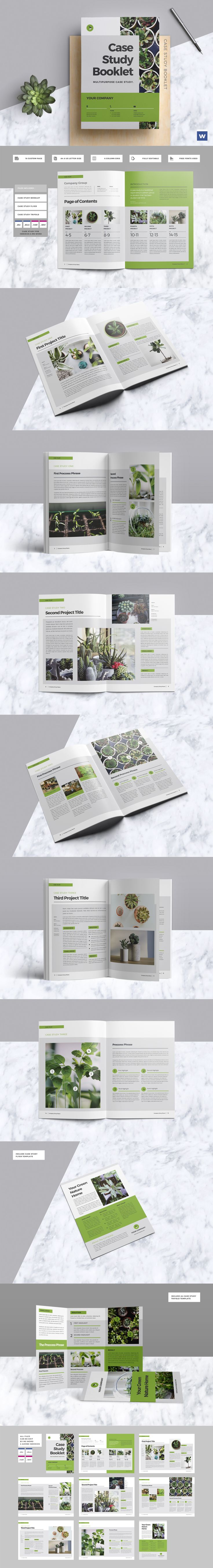 Clean & Professional Case Study Booklet Template InDesign INDD - 16 Pages, A4 & US letter Size