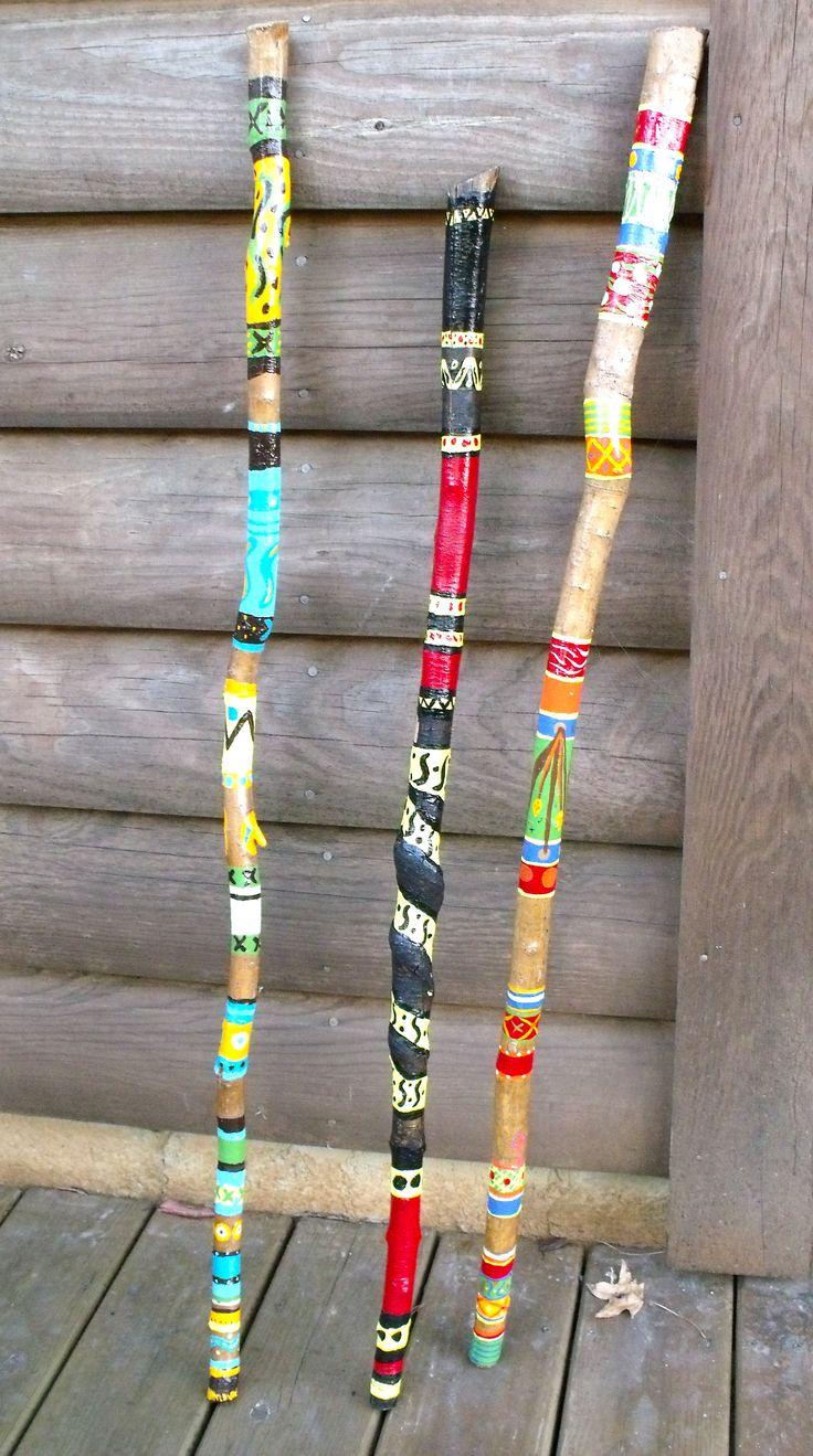 """Painted Walking Sticks"" Beplak je wandelstok met washi tape buy at www.prettypresents.nl #washitape #maskingtape"
