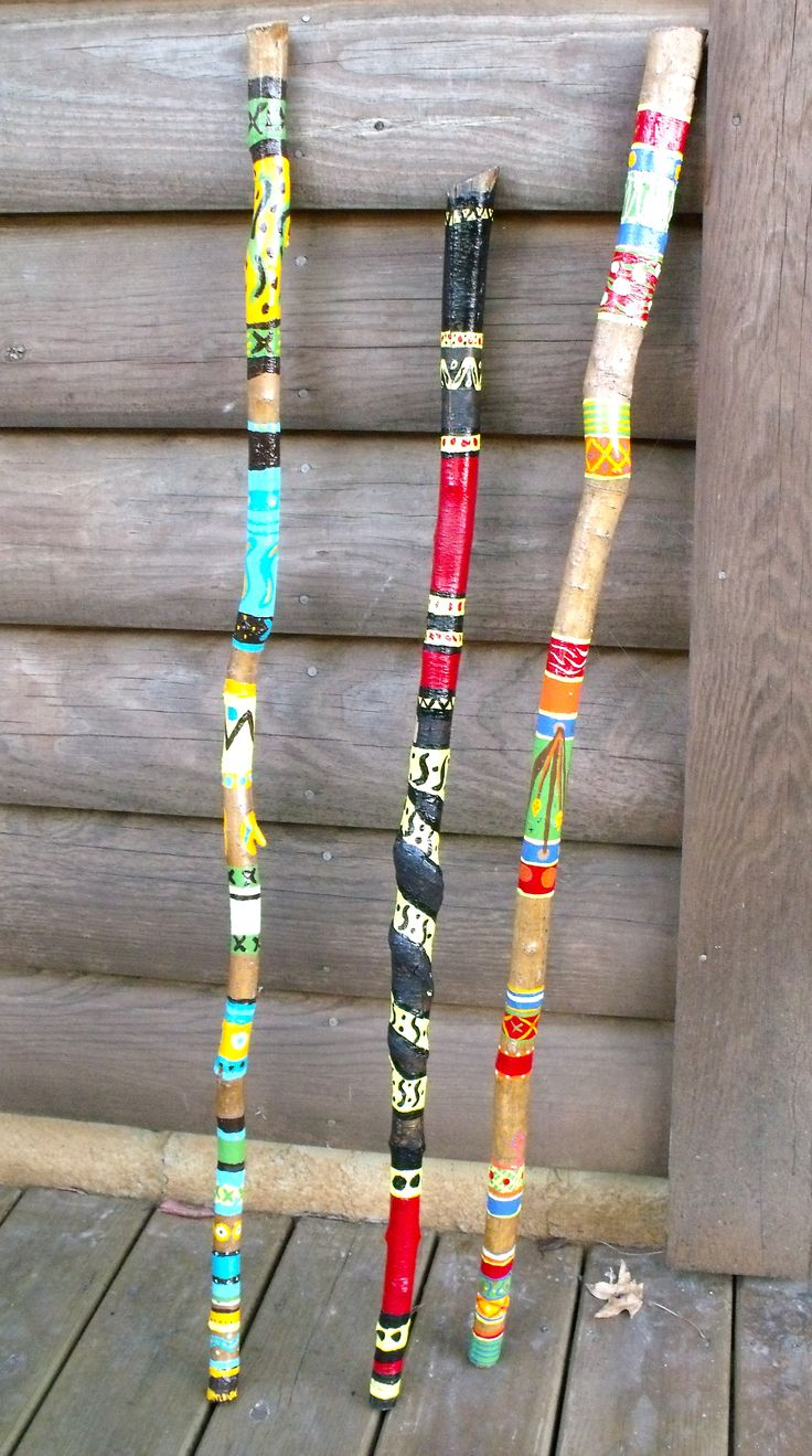 """Painted Walking Sticks"" Beplak je wandelstok met washi tape buy at www.prettypresents.nl #washitape #maskingtape"