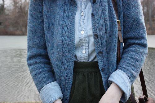Minus the cardi, denim shirt with black skirt...hmmm