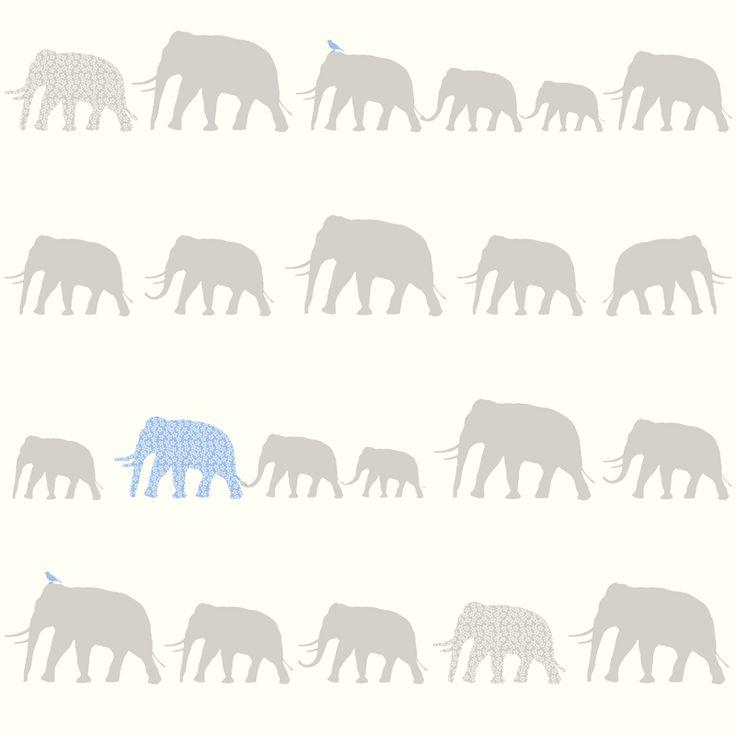 ESTAhome.nl - maak je huis gezellig! Non-woven wallpaper elephant silver & soft blue behang, fotobehang, gordijnstof en dekbedovertrekken
