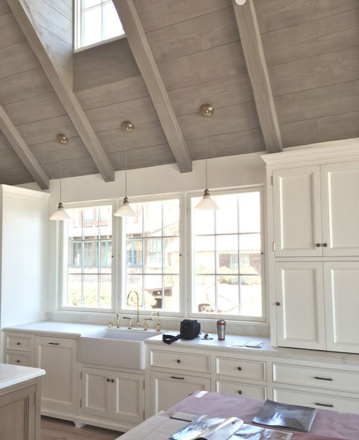 I don't know what color the wood on the ceiling is, but I love the worn neutral with white.