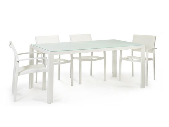 Scandinavian Designs - Bring a clean modern look outdoors with the Posie dining table. Crafted with a white powder coated, aluminum frame and a glass top with fingerprint resistant coating. Square table also available. Sold out in Chicago and Minnesota.