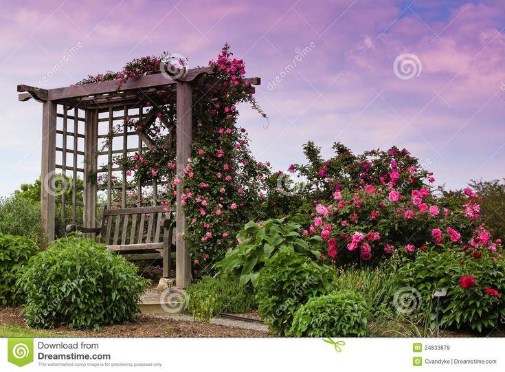 Tuin VA van de Helling van de Rozen van het latwerk de Bloeiende Roze