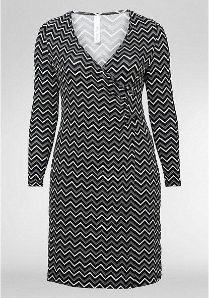 sheego Style Jerseykleid in Wickeloptik – schwarz-weiß