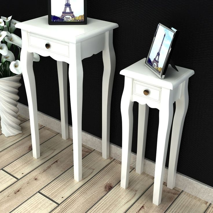 #bNEW White Telephone Side Table With Drawer 2 Sizes End Table Plant  Nightstand