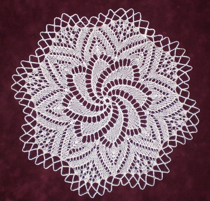 """European Knitted Lace Doily, 11"""" diameter, 100% fine white cotton, handmade by KnittySchmitty."""