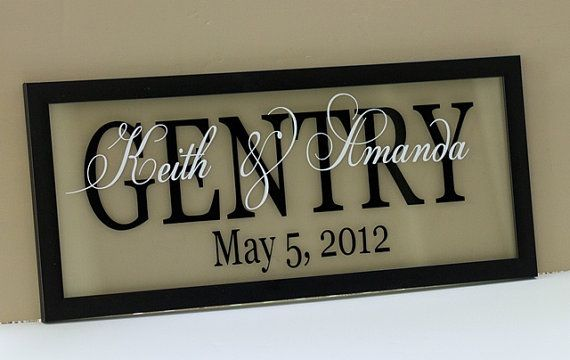 Personalized floating photo frame w/ vinyl lettering. Great project using my Silhouette Cameo.