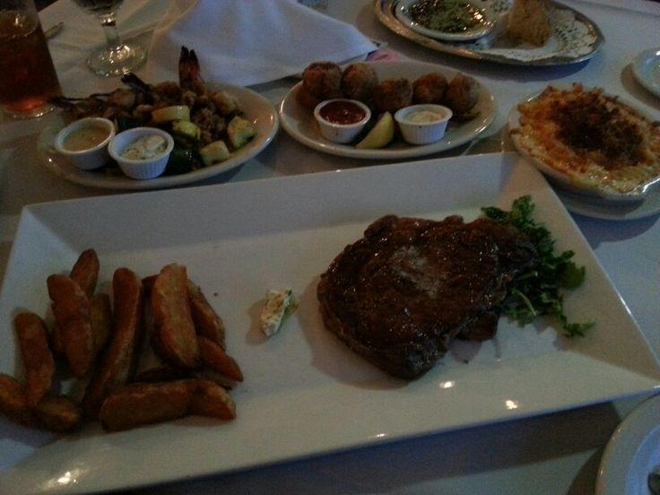Ribeye Steak,  French Fries,  Shrimp Balls,  Fried Shrimp with Vegetables & Mac and Cheese -  Gaido's -  Galveston Tx