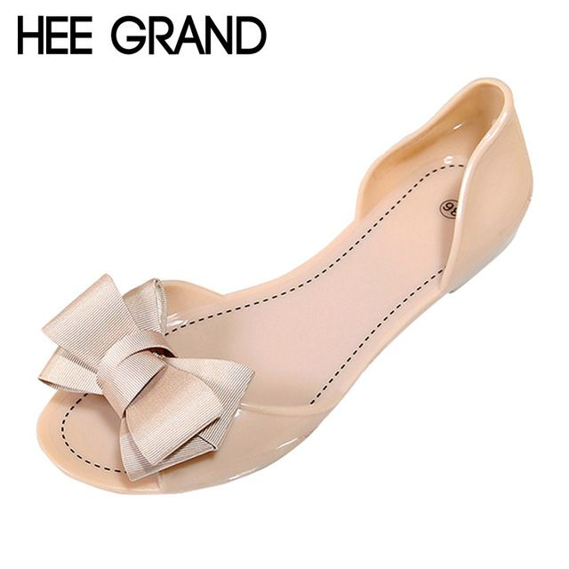 HEE GRAND Women Jelly Sandals Beach Jelly Shoes Woman Summer Flip Flops Bowtie Slippers Slip On Flats Casual Women Shoes XWZ3344