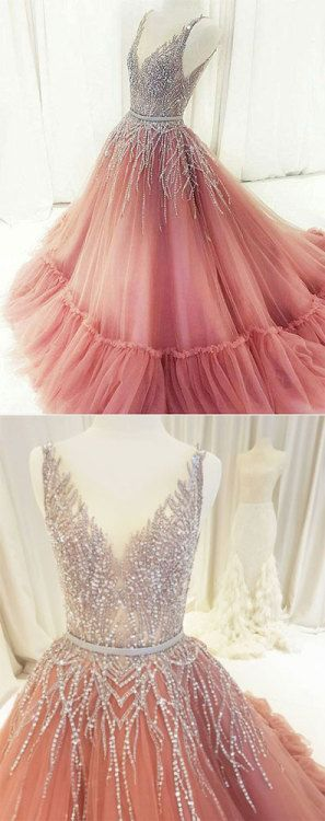 Unique v neck tulle beaded long prom dress, pink evening dress, pink formal dress