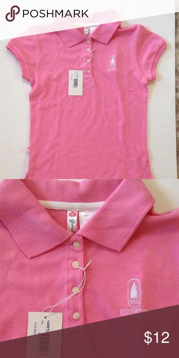 NWT-Cute pink polo shirt. Country Club pink polo shirt. Size youth large age 9-10 years (per tag). 100% cotton. Shirts & Tops Polos