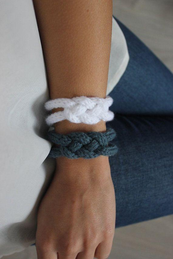 Duo de bracelet en tricotin, bijoux en laine