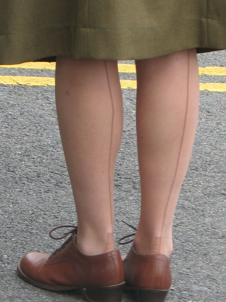 Stockings with seams - these were not easy to get straight - well before pantyhose and seamless stockings