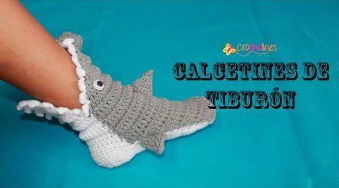 DIY pantunflas calcetines tiburón a crochet