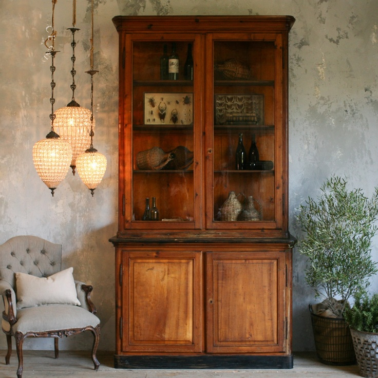 Natural Pine Kitchen Cabinets: Gorgeous Display Cabinet In Natural Stained Pine $6,540.75