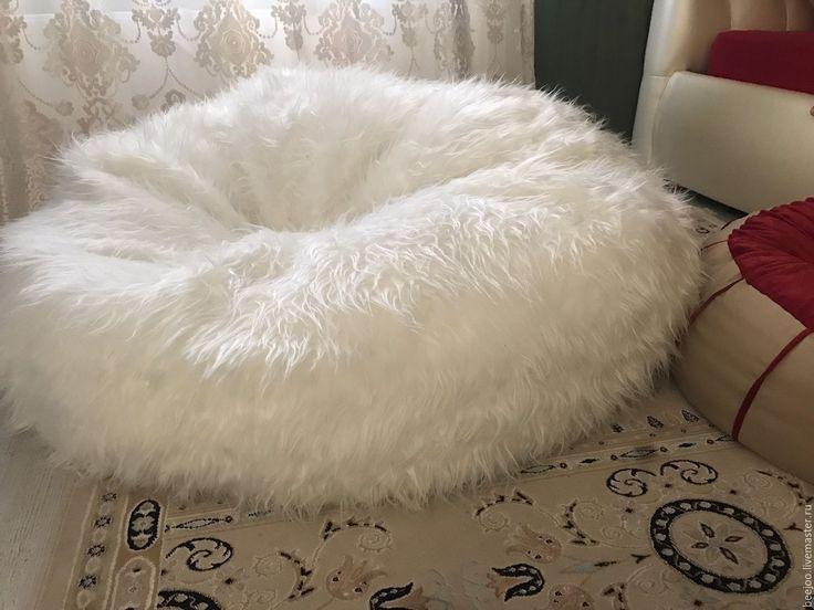 Купить Белое меховое кресло-пуф - белый, пуф, кресло, кресло-мешок, подушка, норвегия
