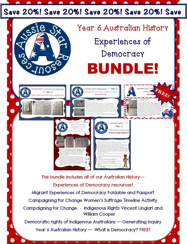 The Year 6 Australian History – Experiences of Democracy BUNDLE inclues all of Aussie Star's fun and engaging Experiences of Democracy resources bundled together for one great price – saving you 20% and providing one free resource! 48 pages for $13.25!
