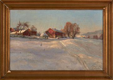"""THORALV SUNDT-OHLSEN KRISTIANIA 1884 - D.SST. 1948  """"Staavi"""" 1919 Olje på lerret, 44x69 Stedsbestemt, datert og signart nede til venstre: Staavi 1919 Th Sundt-Ohlsen"""